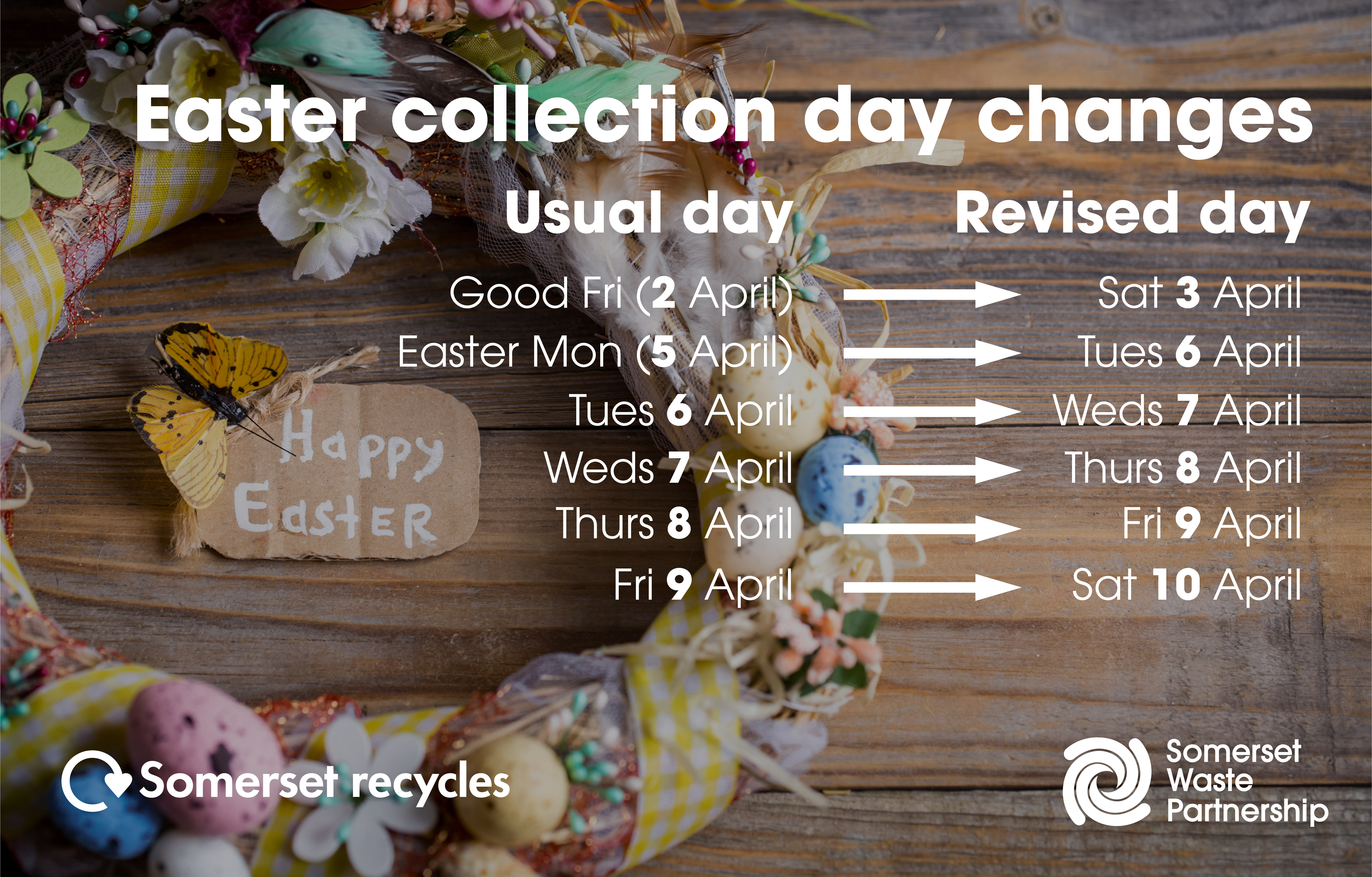 Easter collection day changes. Collections will be one day late.